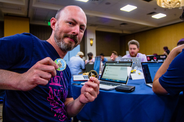 One happy BeeWare coin recipient. Photo by Atom Images