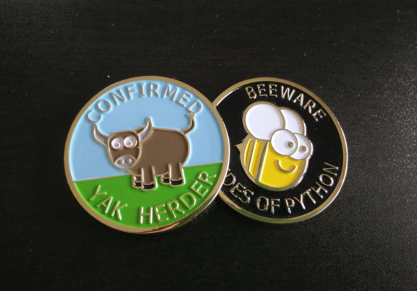 The front and back of the BeeWare Yak Herder Coin.